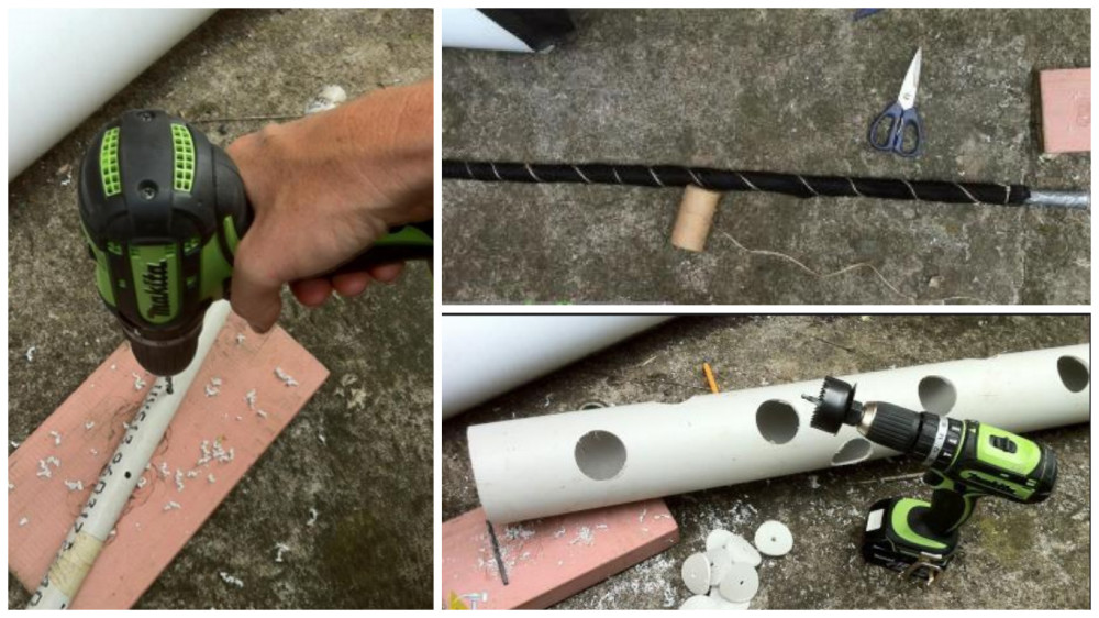 Режем отверстия в большой трубе для кустов клубники