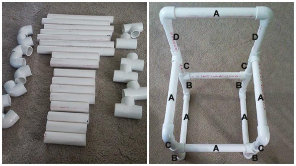 Детали под буквой «А» определяют ширину и глубину сиденья. Длина труб «В» определяет высоту сиденья от земли. Детали под цифрой «С» высоту подлокотников, а под цифрой «D» высоту спинки.