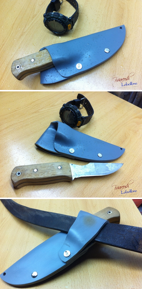 из остатков трубы сделал маленькие ножны для старого маленького ножа